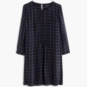 Worn Once Madewell Windowpane Black Silk Dress
